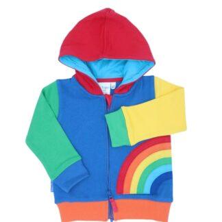 organic multi coloured rainbow baby hoody to rent