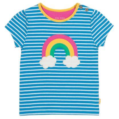 blue striped organic rainbow baby t-shirt