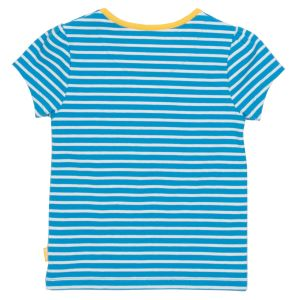 blue and white stripe T-shirt with rainbow on front