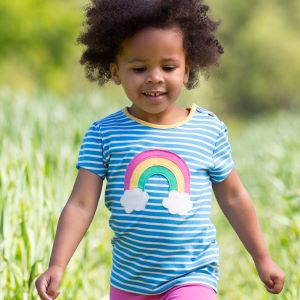 GOTS certified organic rainbow t-shirt available to rent