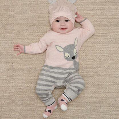 pink and grey babywear rental playsuit