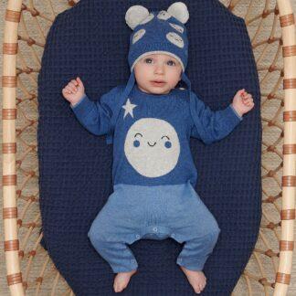 blue baby playsuit cotton cashmere