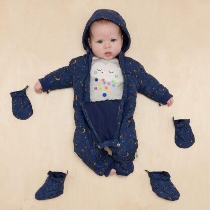 recycled baby snowsuit with mittens and booties