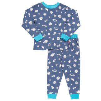 navy blue baby pyjamas with space print