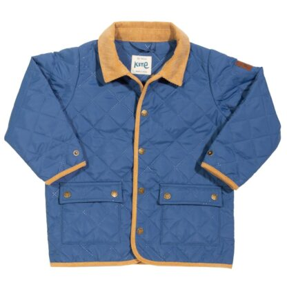blue babywear rental coat with contrast collar and trim