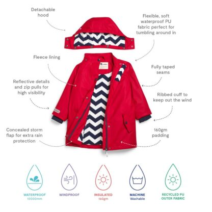 red recycled baby rental jacket
