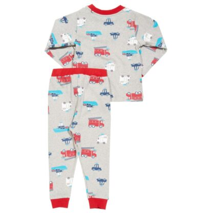 back view of grey rescue squad printed baby pyjamas