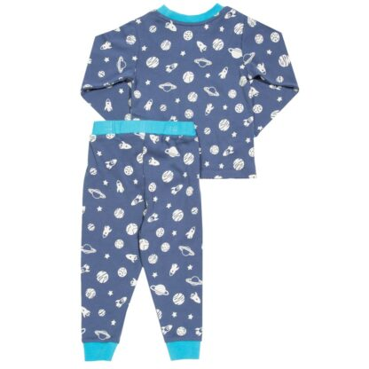 organic navy blue space print baby pyjamas to rent