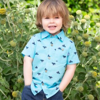 aqua blue whale print baby shirt to rent