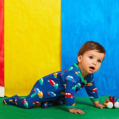 baby clothes rental blue car print sleepsuit