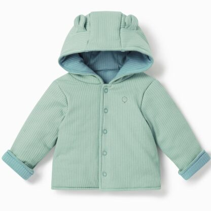 bamboo and organic cotton reversible baby coat in blue