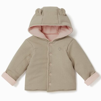 bamboo and organic cotton reversible baby coat in biscuit