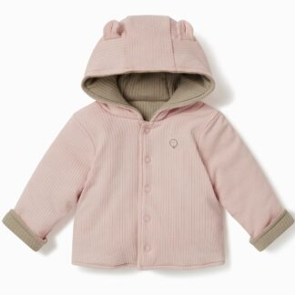 reversible bamboo and organic cotton baby coat in pink