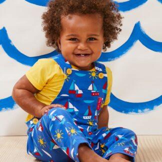 blue babywear rental boat print dungarees
