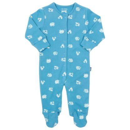 baby clothing rental blue sleepsuit with polka farm print