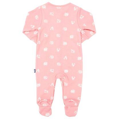 baby clothing rental pink sleepsuit with polka farm print