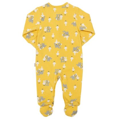 yellow baby sleepsuit rental with all over print