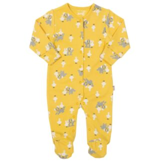 yellow printed pup and duck sleepsuit baby clothing rental