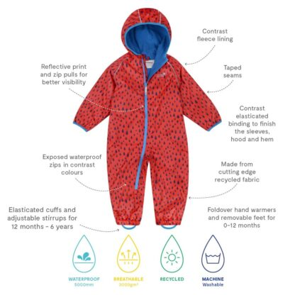 technical details of red puddlesuit