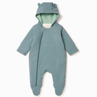 ribbed baby all in one pramsuit