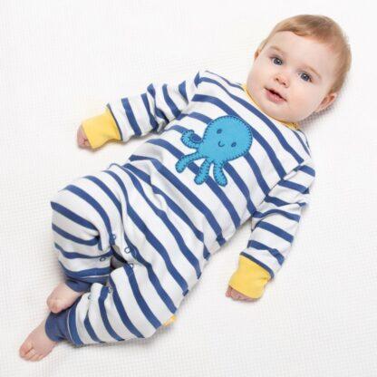 organic babywear rental navy and white stripe romper