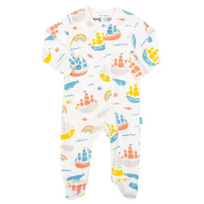 organic baby sleepsuit in ship ahoy print rental