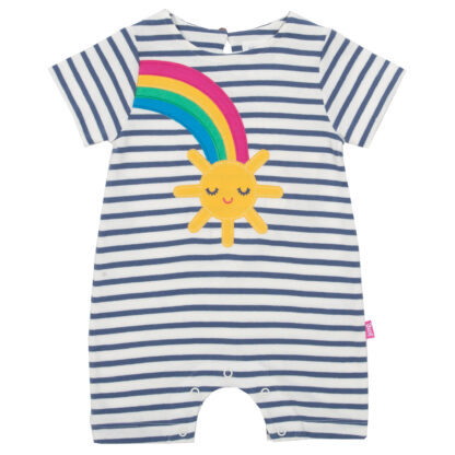 navy and cream striped baby clothing rental romper