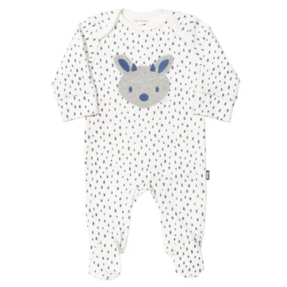 white babywear rental sleepsuit with fawn applique