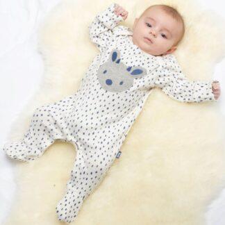 organic white sleepsuit baby clothing rental