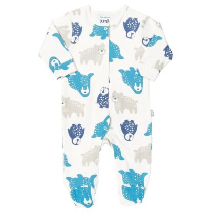 white babywear rental sleepsuit with all over polar pals print