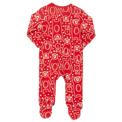 red baby rental sleepsuit with white relief snow bear print