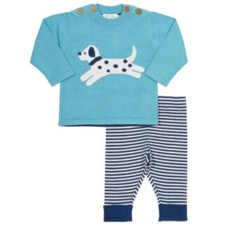 blue baby little pup jumper and striped leggings