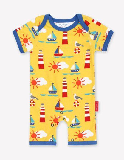 yellow seaside print baby clothing rental romper