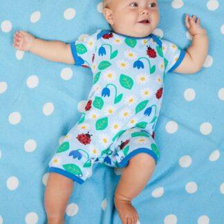 blue floral baby clothing rental romper