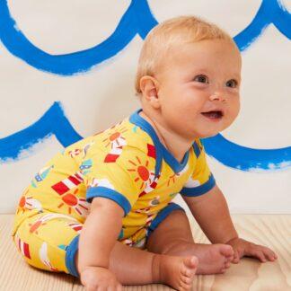 yellow romper with blue trims babywear rental