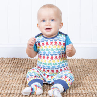 organic baby clothes multi colour dungarees