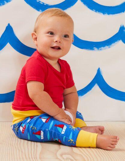 baby organic clothes blue boat print yoga pants
