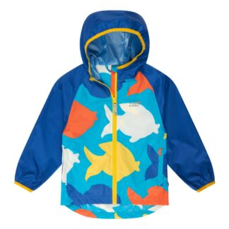 baby rain jacket to rent blue fish print recycled fabric