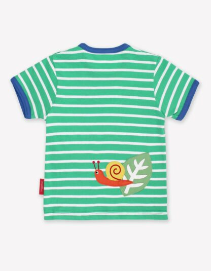 organic green and white stripe baby t-shirt to rent