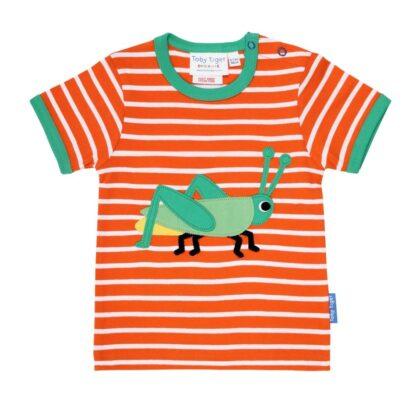 grasshopper on organic cotton orange stripe t-shirt