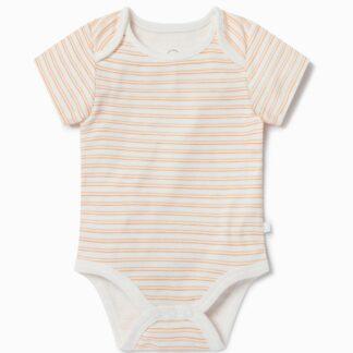 rental clothes organic cotton and bamboo short sleeve orange stripe bodysuit