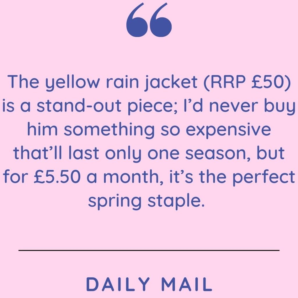 Rental of clothes - Daily Mail quote