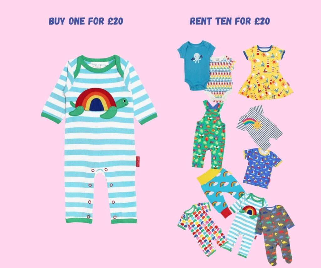 rental of clothes buy one for £20 rent ten for £20