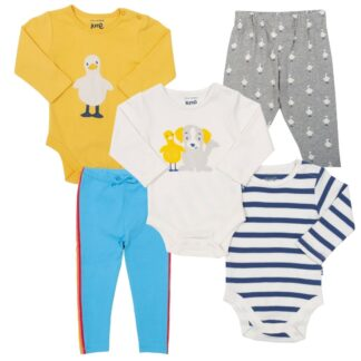 Duck themed organic babywear bundle of leggings and bodysuits