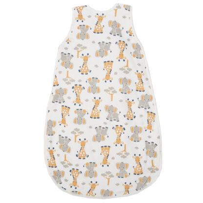 baby sleep bag with giraffe and elephant print