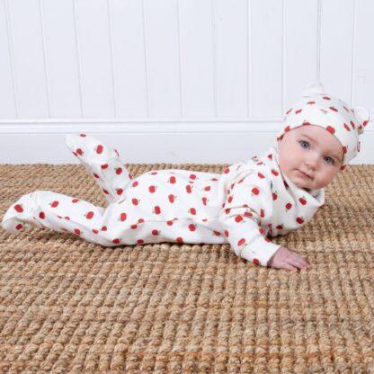 organic apple dot sleepsuit