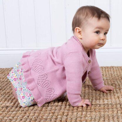 baby cardigan in pink organic cotton