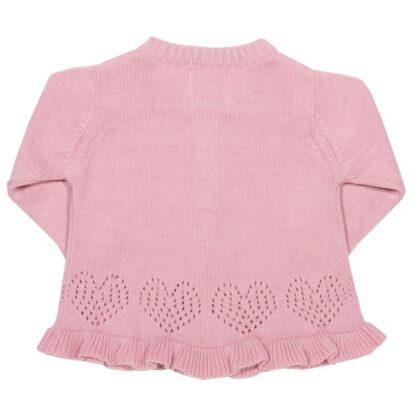 frilly hem baby cardigan in pink