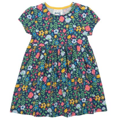 ss floral baby dress in navy