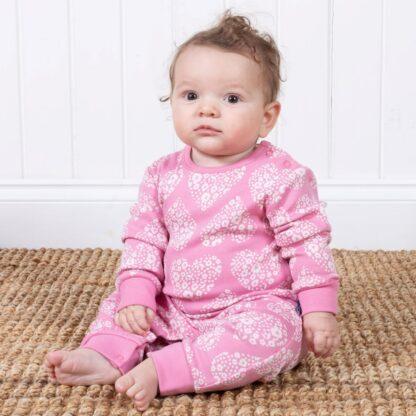 pinks heart baby romper